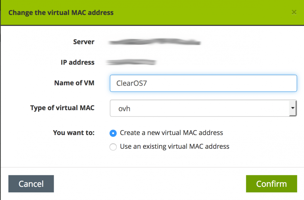 OVH create MAC address